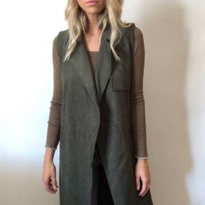 {Who What Wear} long sleeveless vest jacket